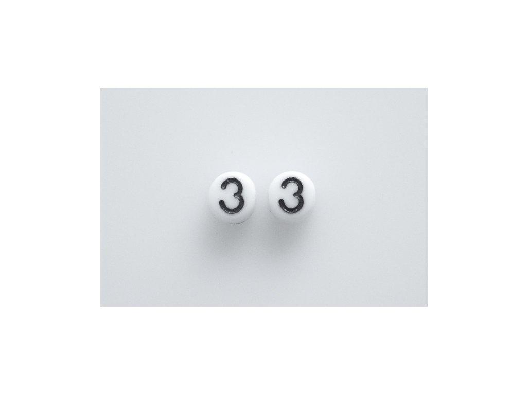 """Korálky s čísly """"3"""" 11130218 6 mm 03000/46449"""