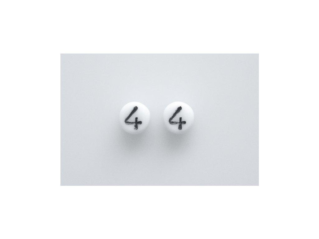 """Korálky s čísly """"4"""" 11130218 6 mm 03000/46449"""