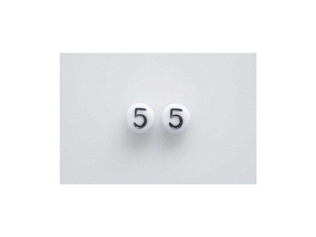 """Korálky s čísly """"5"""" 11130218 6 mm 03000/46449"""