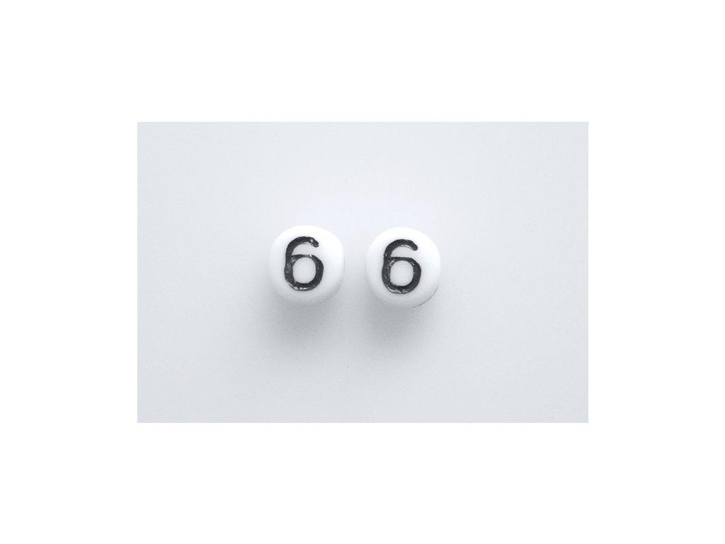 """Korálky s čísly """"6"""" 11130218 6 mm 03000/46449"""