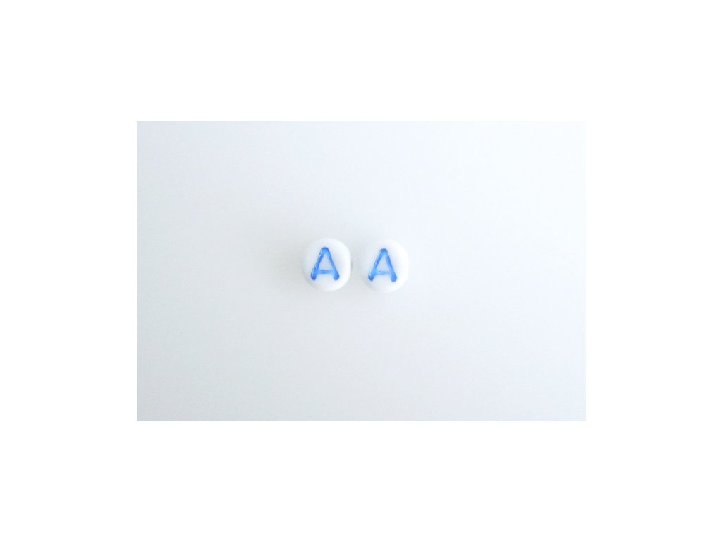 "Korálky s modrým  písmenkem""A"" 11149220 6 mm 03000/46433"