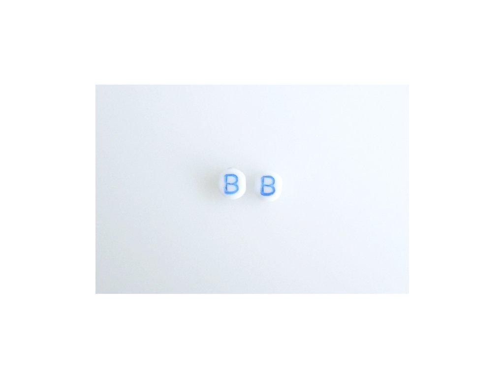 """Korálky s modrým  písmenkem """"B"""" 11149220 6 mm 03000/46433"""