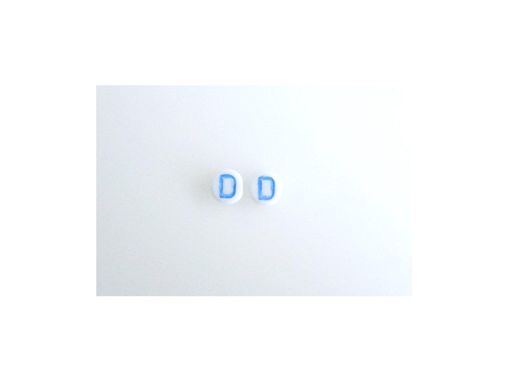 """Korálky s modrým  písmenkem """"D"""" 11149220 6 mm 03000/46433"""