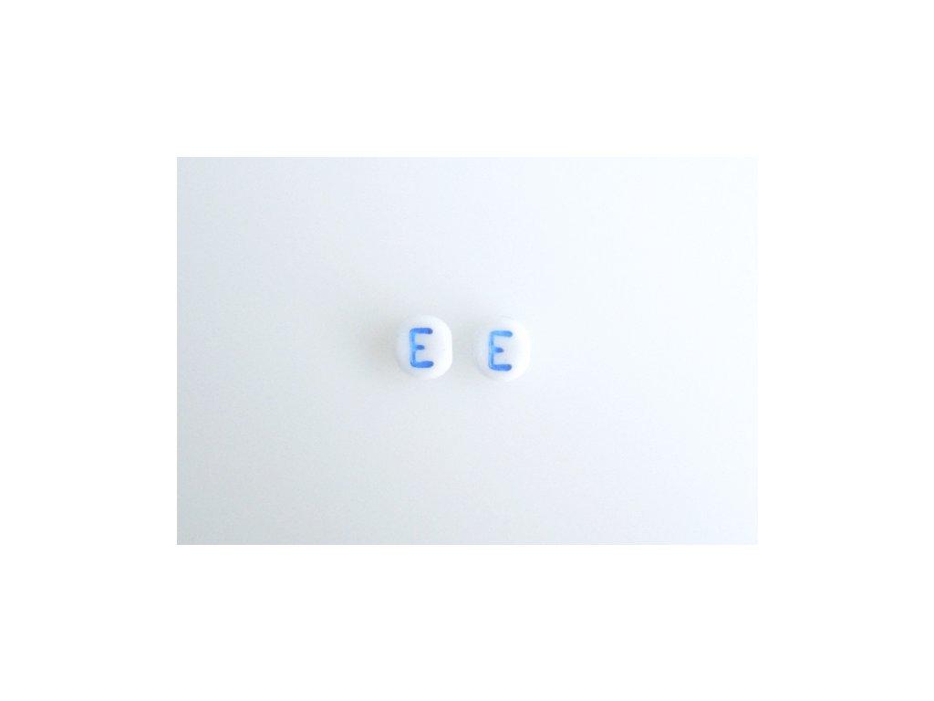 "Korálky s modrým  písmenkem ""E"" 11149220 6 mm 03000/46433"