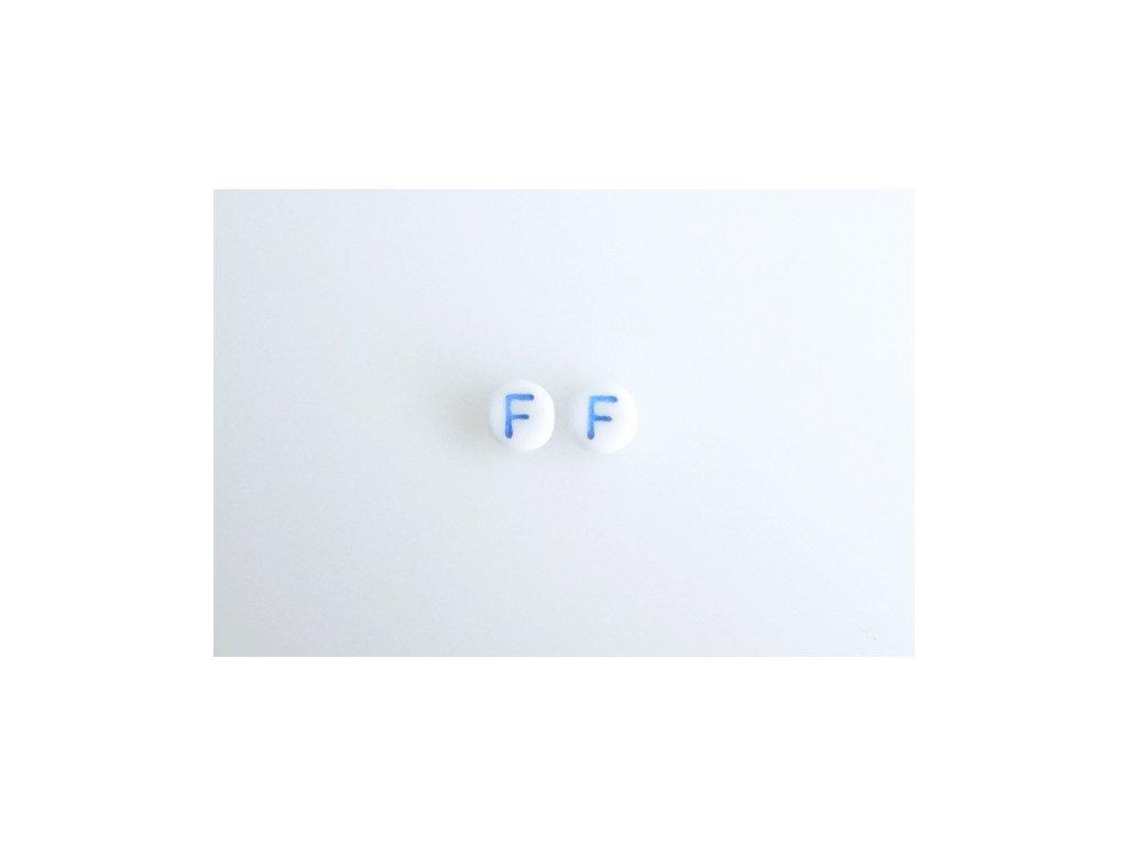 "Korálky s modrým  písmenkem ""F"" 11149220 6 mm 03000/46433"