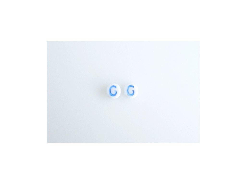 """Korálky s modrým  písmenkem """"G"""" 11149220 6 mm 03000/46433"""