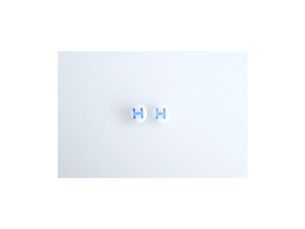 """Korálky s modrým  písmenkem """"H"""" 11149220 6 mm 03000/46433"""