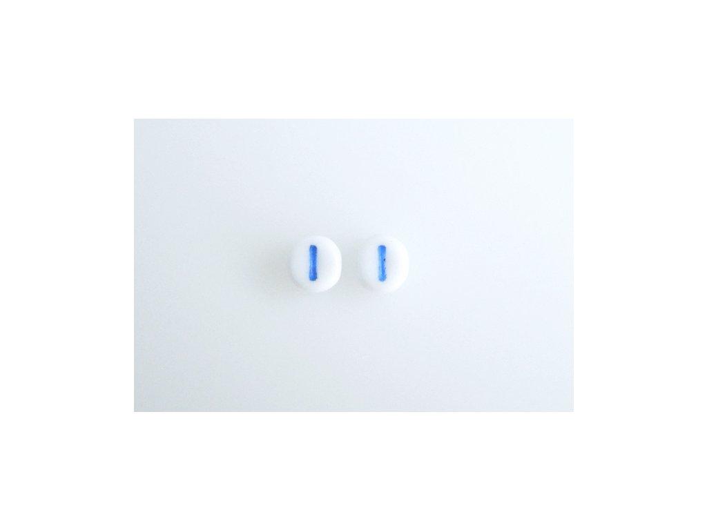 "Korálky s modrým  písmenkem ""I"" 11149220 6 mm 03000/46433"
