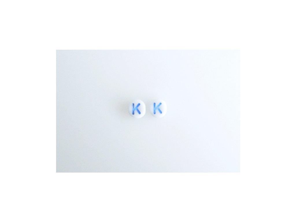 "Korálky s modrým  písmenkem ""K"" 11149220 6 mm 03000/46433"