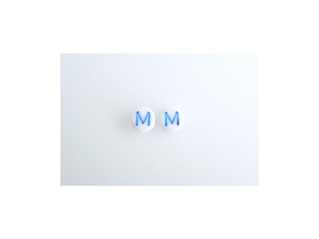 "Korálky s modrým  písmenkem ""M"" 11149220 6 mm 03000/46433"