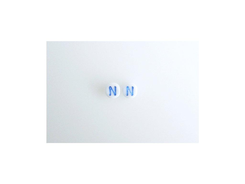 """Korálky s modrým  písmenkem """"N"""" 11149220 6 mm 03000/46433"""
