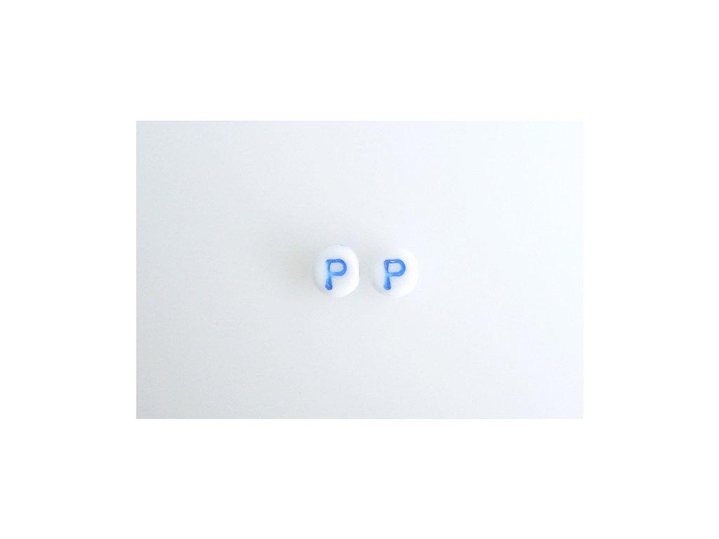 "Korálky s modrým  písmenkem ""P"" 11149220 6 mm 03000/46433"