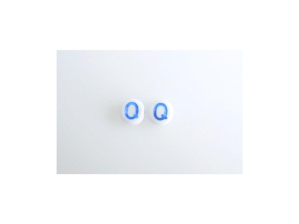 """Korálky s modrým  písmenkem """"Q"""" 11149220 6 mm 03000/46433"""