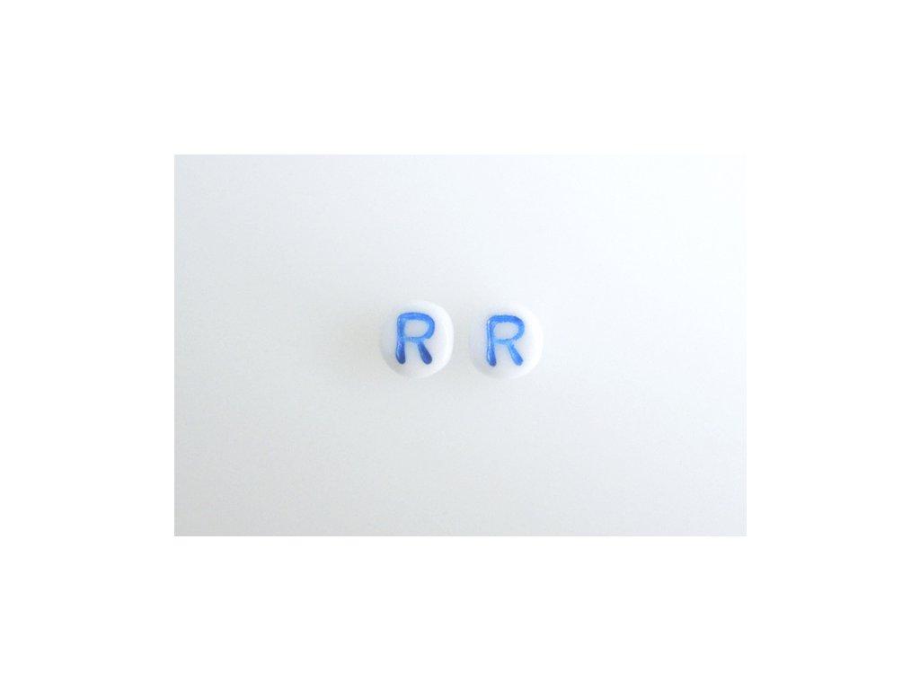 """Korálky s modrým  písmenkem """"R"""" 11149220 6 mm 03000/46433"""