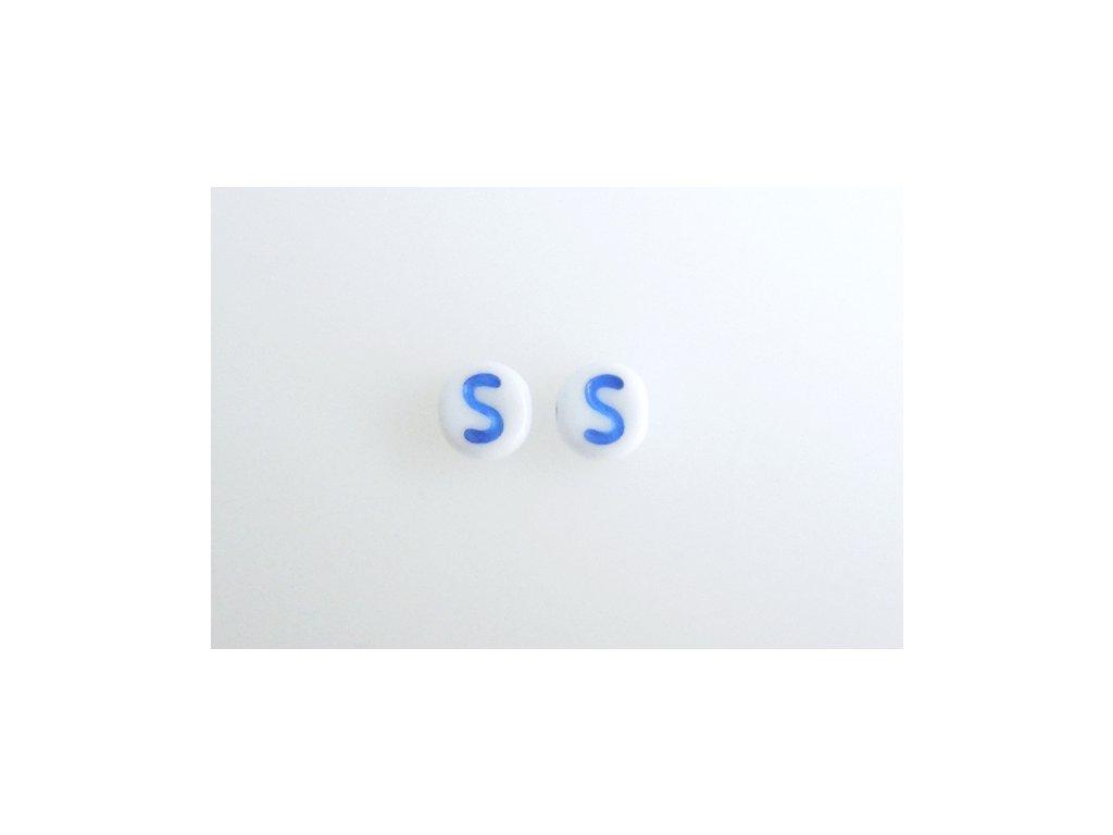 "Korálky s modrým  písmenkem ""S"" 11149220 6 mm 03000/46433"