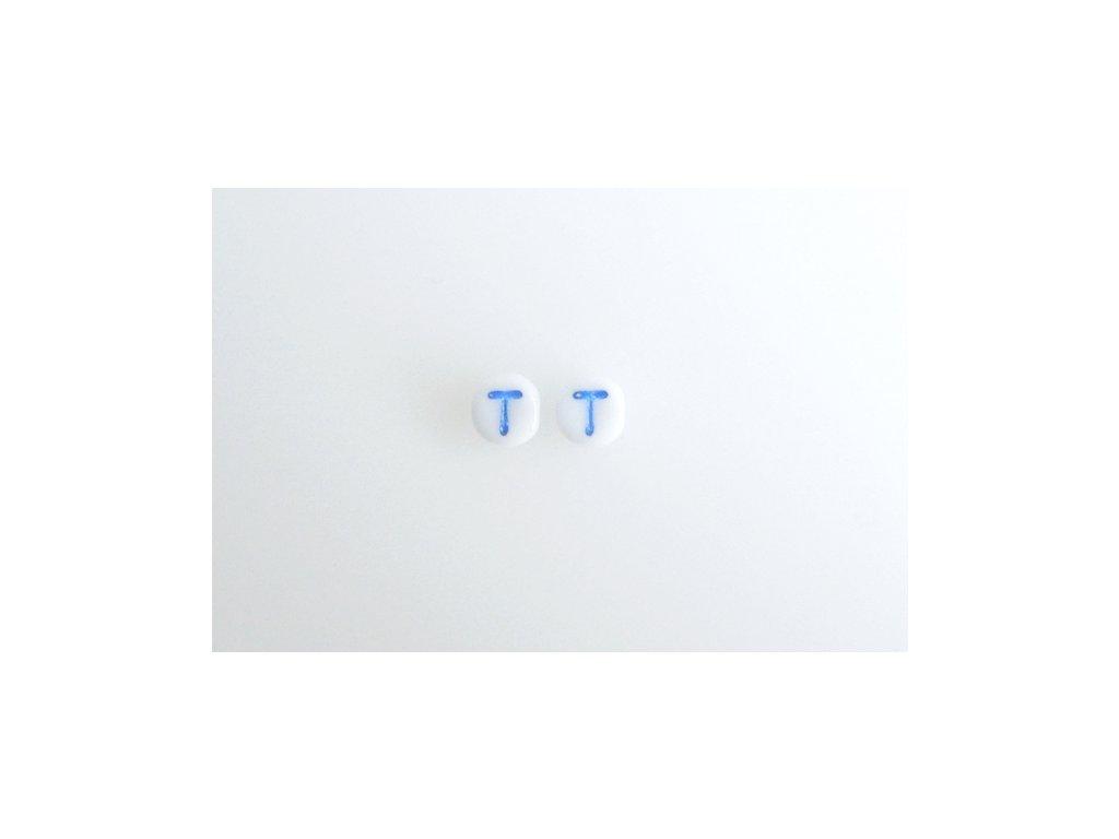 "Korálky s modrým  písmenkem ""T"" 11149220 6 mm 03000/46433"
