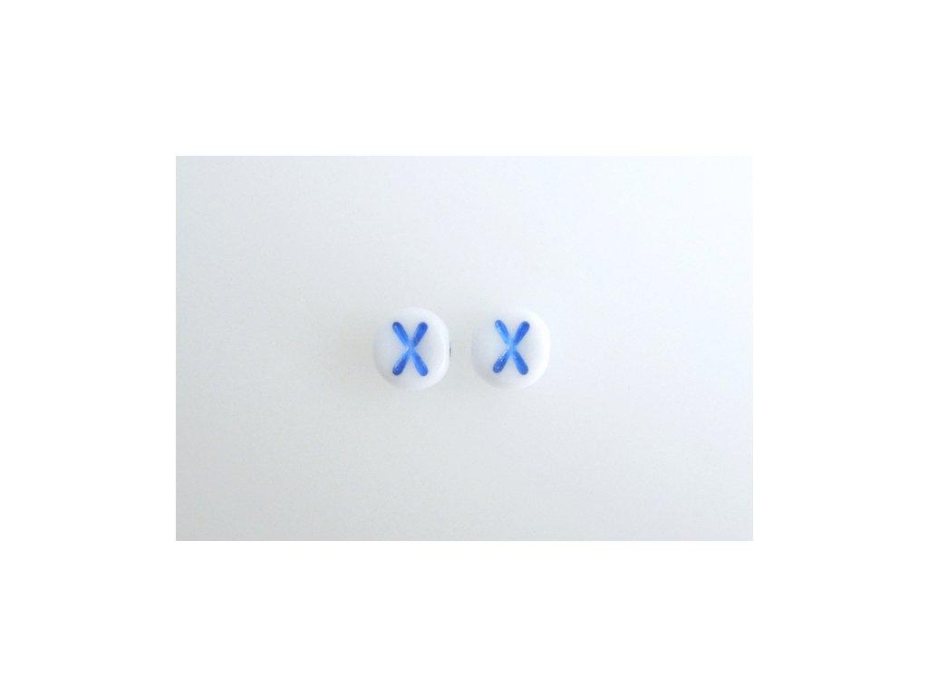 "Korálky s modrým  písmenkem ""X"" 11149220 6 mm 03000/46433"