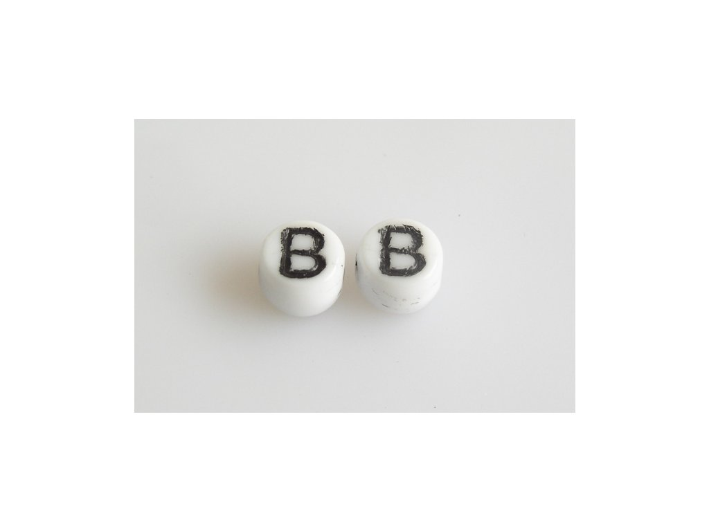 "Korálky s černým písmenkem ""B"" 11149220 6 mm 03000/46449"