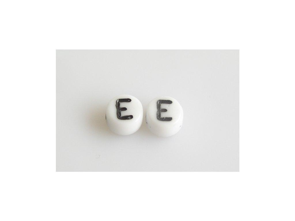 "Korálky s černým písmenkem ""E"" 11149220 6 mm 03000/46449"