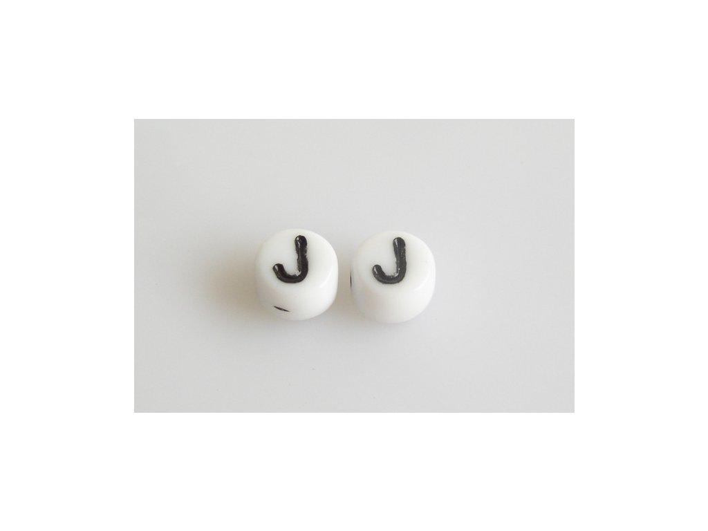 "Korálky s černým písmenkem ""J"" 11149220 6 mm 03000/46449"