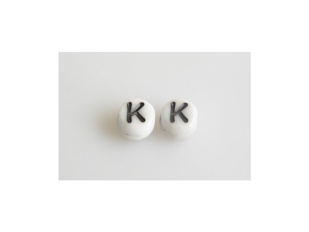 """Korálky s černým písmenkem """"K"""" 11149220 6 mm 03000/46449"""