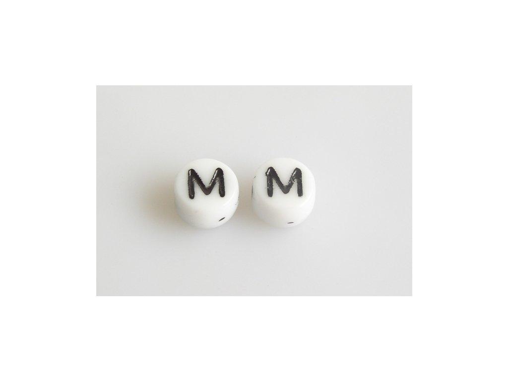 "Korálky s černým písmenkem ""M"" 11149220 6 mm 03000/46449"
