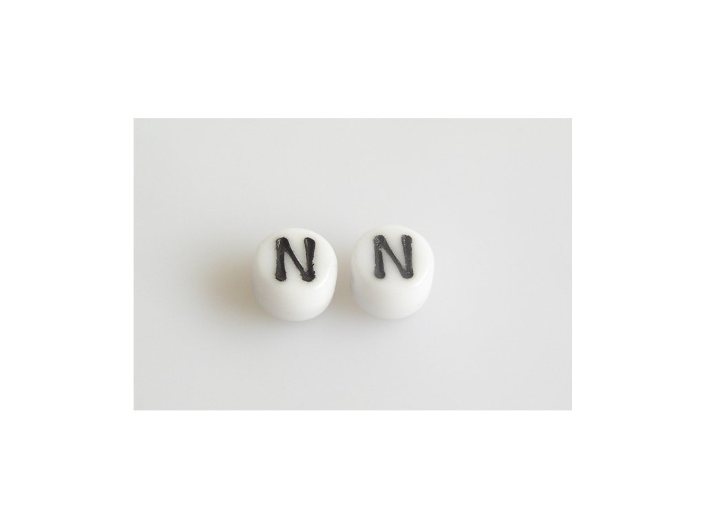 """Korálky s černým písmenkem """"N"""" 11149220 6 mm 03000/46449"""