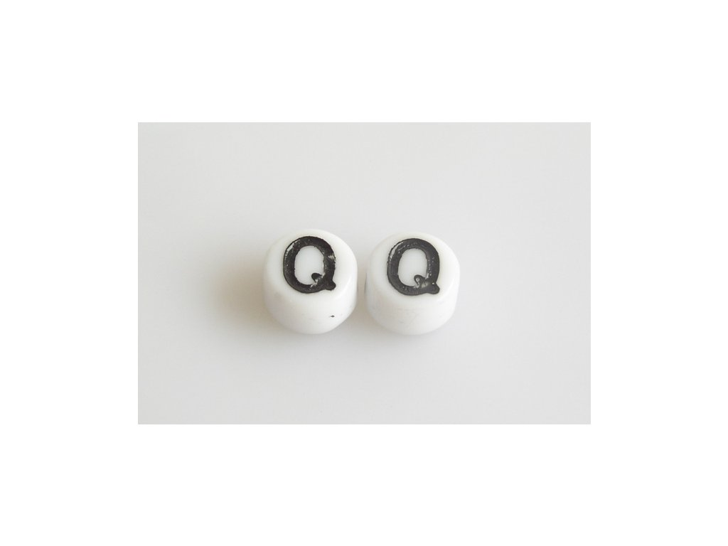 """Korálky s černým písmenkem """"Q"""" 11149220 6 mm 03000/46449"""