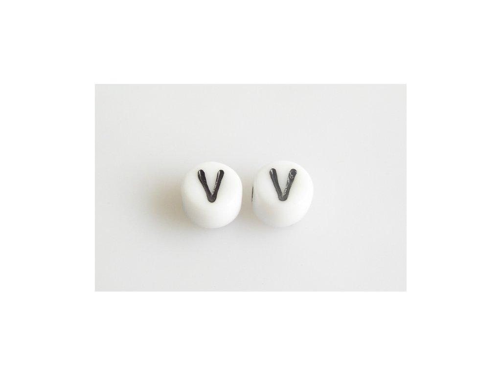 """Korálky s černým písmenkem """"V"""" 11149220 6 mm 03000/46449"""