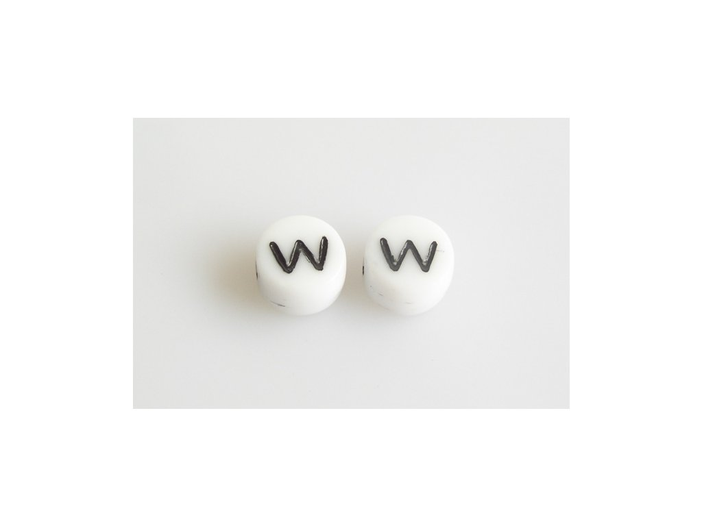 "Korálky s černým písmenkem ""W"" 11149220 6 mm 03000/46449"