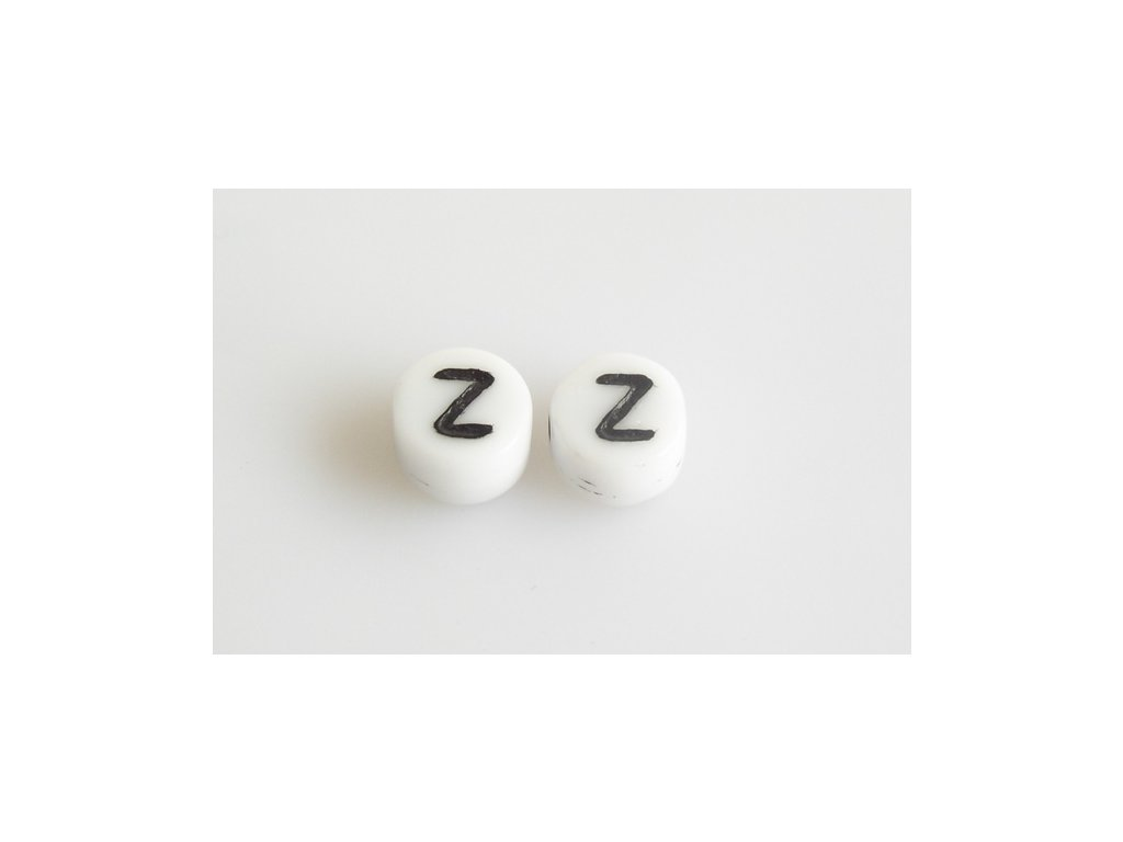 """Korálky s černým písmenkem """"Z"""" 11149220 6 mm 03000/46449"""