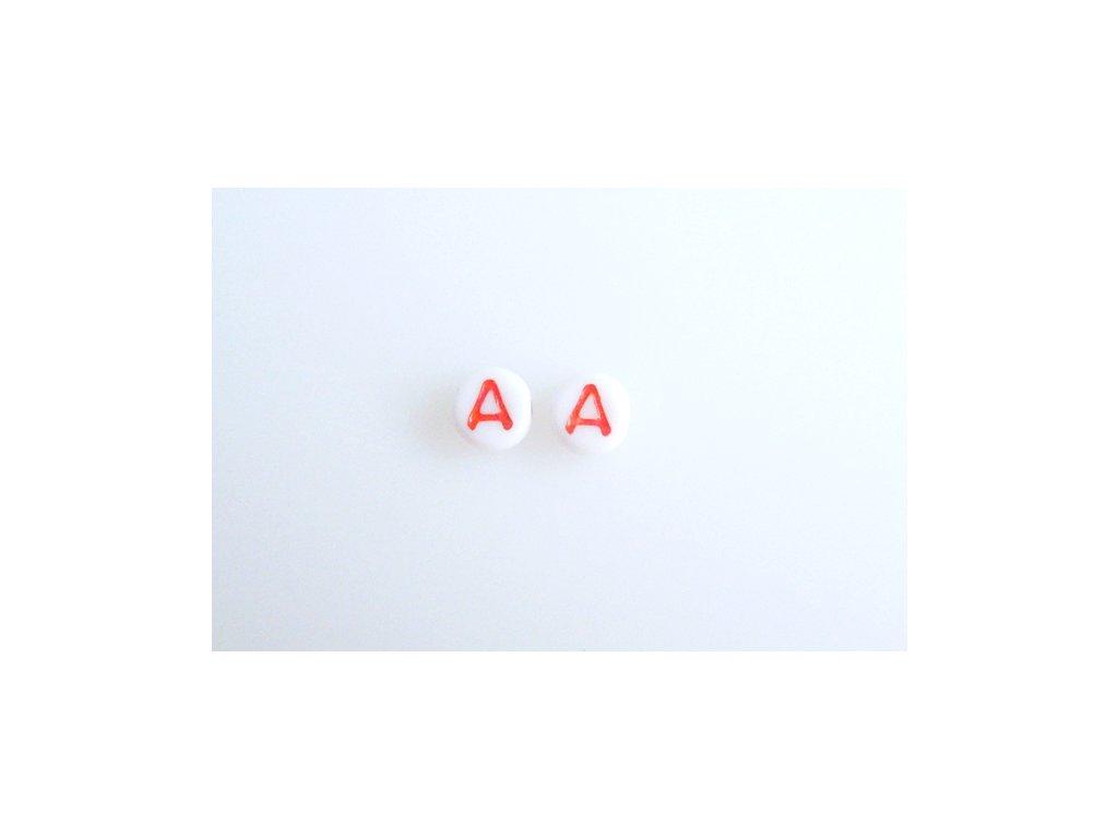 """Korálky s červeným písmenkem """"A"""" 11149220 6 mm 03000/46497"""