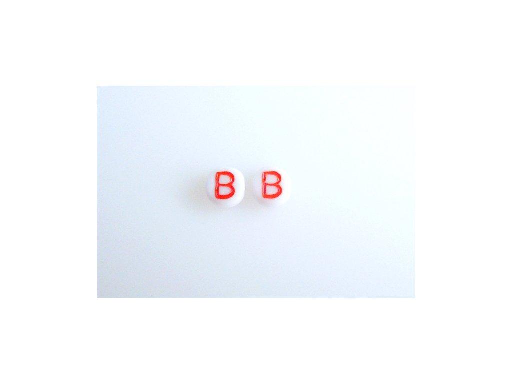 """Korálky s červeným písmenkem """"B"""" 11149220 6 mm 03000/46497"""