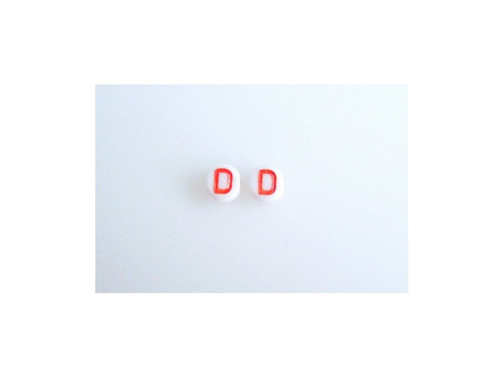 """Korálky s červeným písmenkem """"D"""" 11149220 6 mm 03000/46497"""