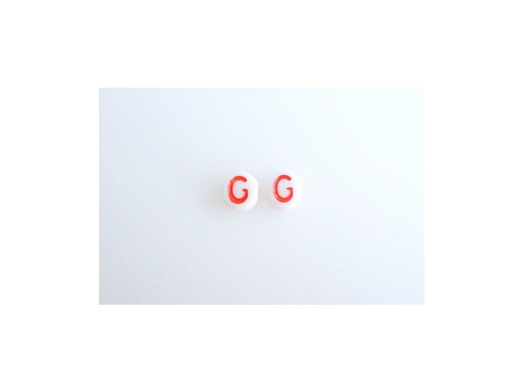 """Korálky s červeným písmenkem """"G"""" 11149220 6 mm 03000/46497"""