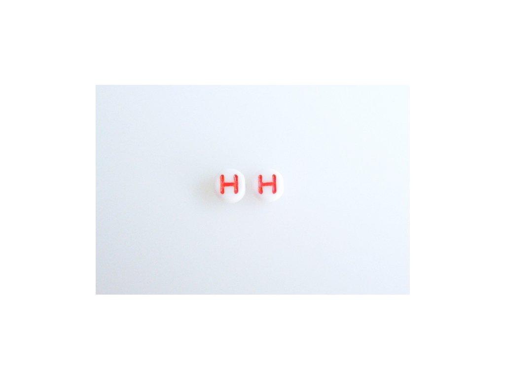 """Korálky s červeným písmenkem """"H"""" 11149220 6 mm 03000/46497"""