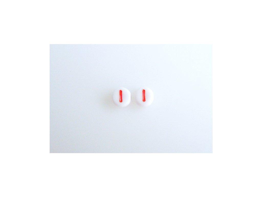"""Korálky s červeným písmenkem """"I"""" 11149220 6 mm 03000/46497"""