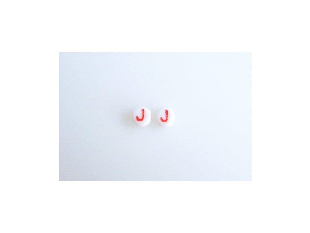 """Korálky s červeným písmenkem """"J"""" 11149220 6 mm 03000/46497"""