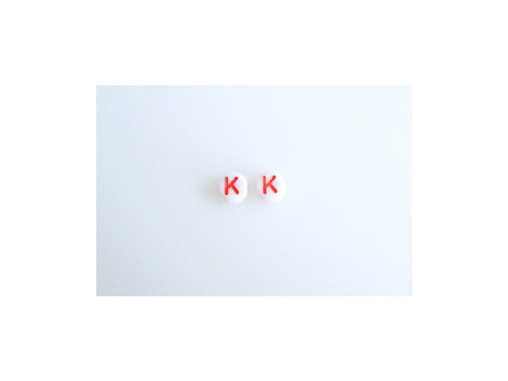 """Korálky s červeným písmenkem """"K"""" 11149220 6 mm 03000/46497"""