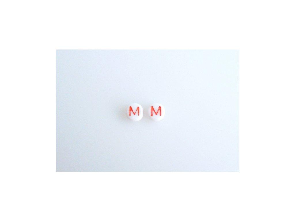 """Korálky s červeným písmenkem """"M"""" 11149220 6 mm 03000/46497"""