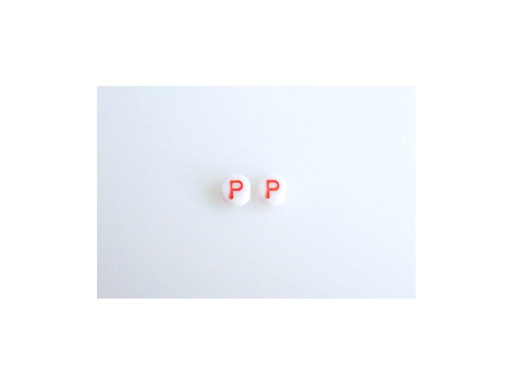 """Korálky s červeným písmenkem """"P"""" 11149220 6 mm 03000/46497"""