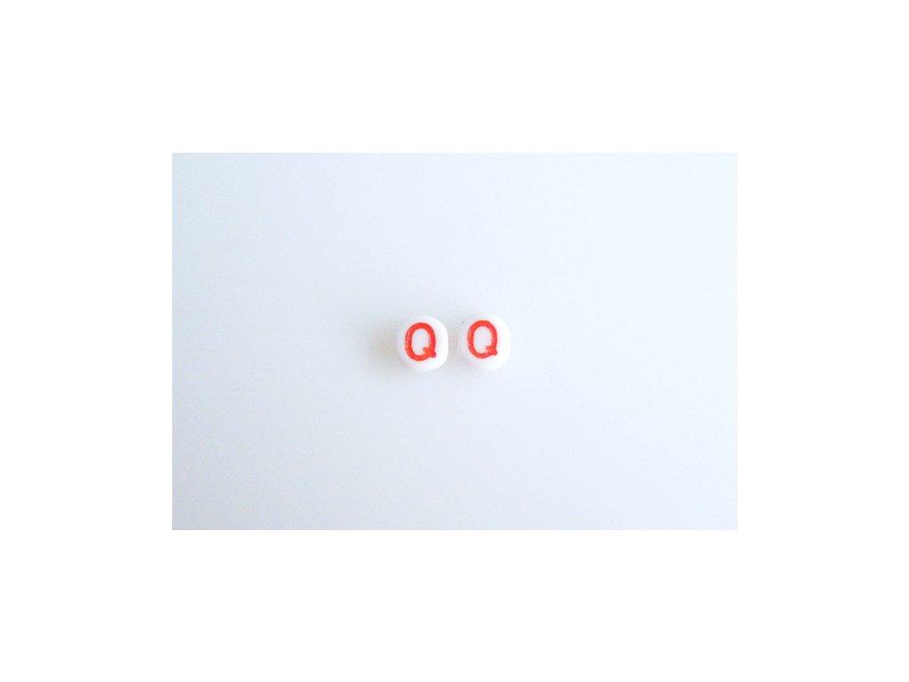 """Korálky s červeným písmenkem """"Q"""" 11149220 6 mm 03000/46497"""