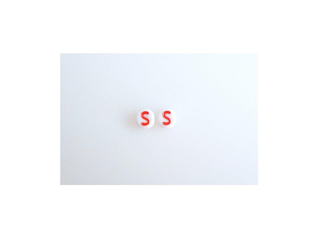 """Korálky s červeným písmenkem """"S"""" 11149220 6 mm 03000/46497"""
