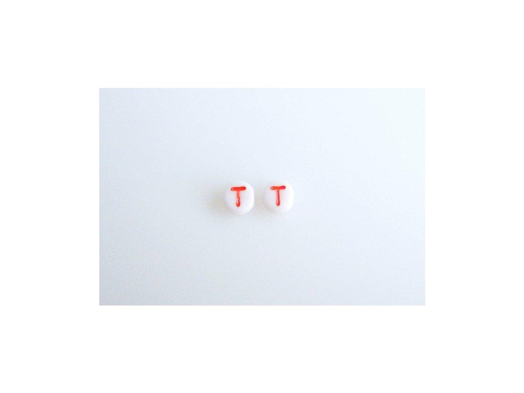 """Korálky s červeným písmenkem """"T"""" 11149220 6 mm 03000/46497"""