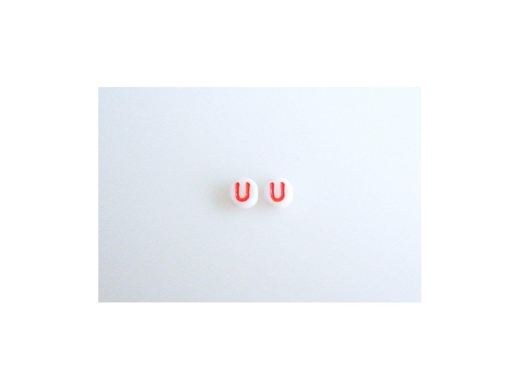 """Korálky s červeným písmenkem """"U"""" 11149220 6 mm 03000/46497"""