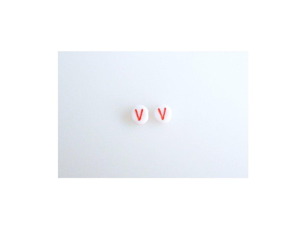 """Korálky s červeným písmenkem """"V"""" 11149220 6 mm 03000/46497"""