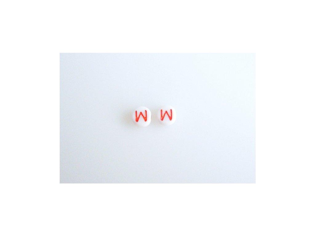 """Korálky s červeným písmenkem """"W"""" 11149220 6 mm 03000/46497"""