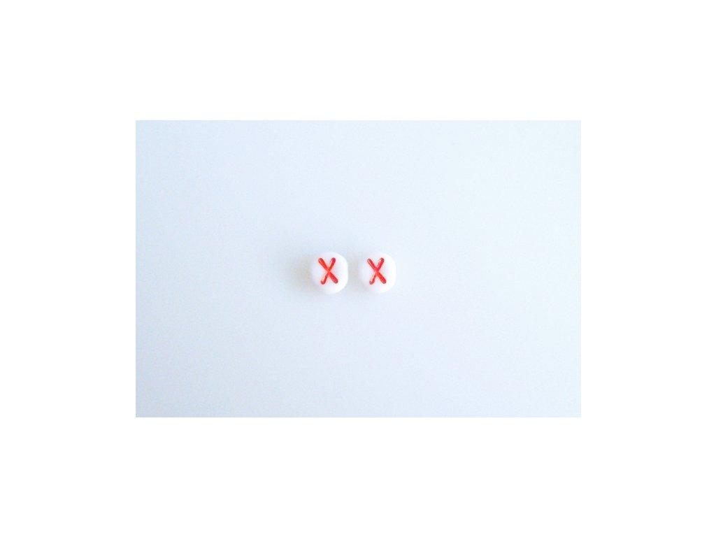 """Korálky s červeným písmenkem """"X"""" 11149220 6 mm 03000/46497"""