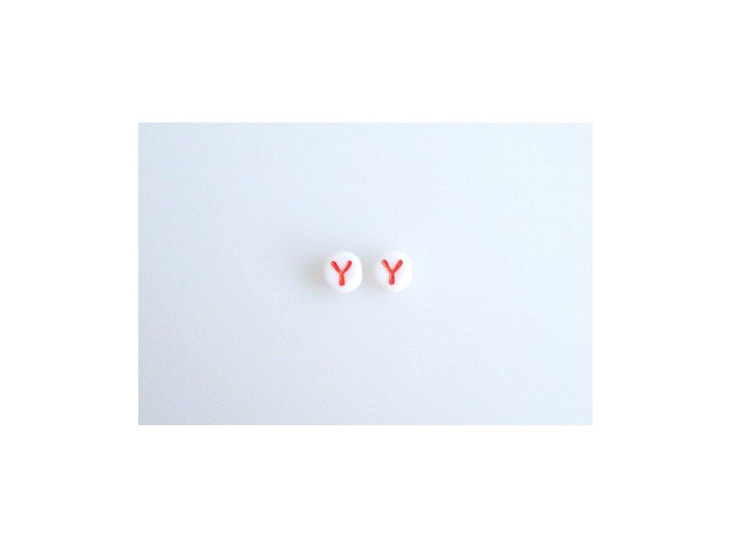 """Korálky s červeným písmenkem """"Y"""" 11149220 6 mm 03000/46497"""