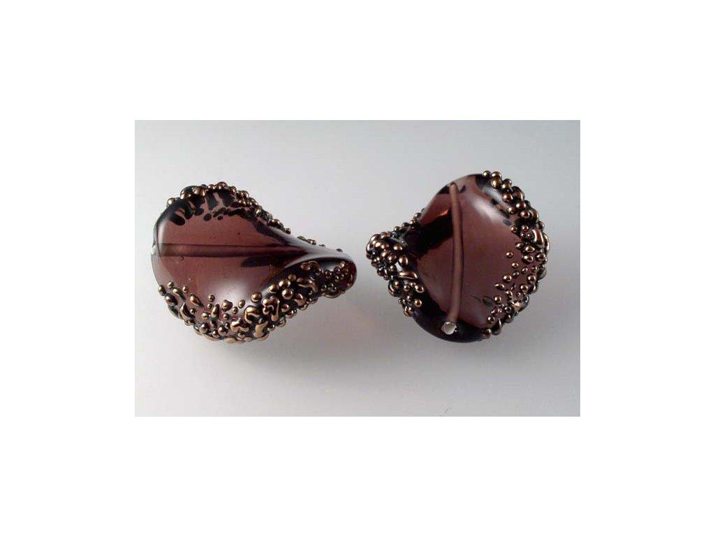 Kroucená špíglovaná perla 30x17 mm 20050